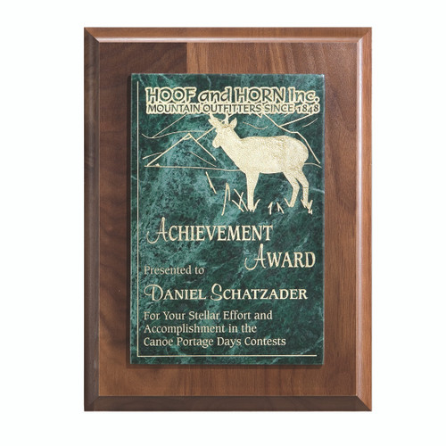 Walnut Panel And Green Marble Plaque