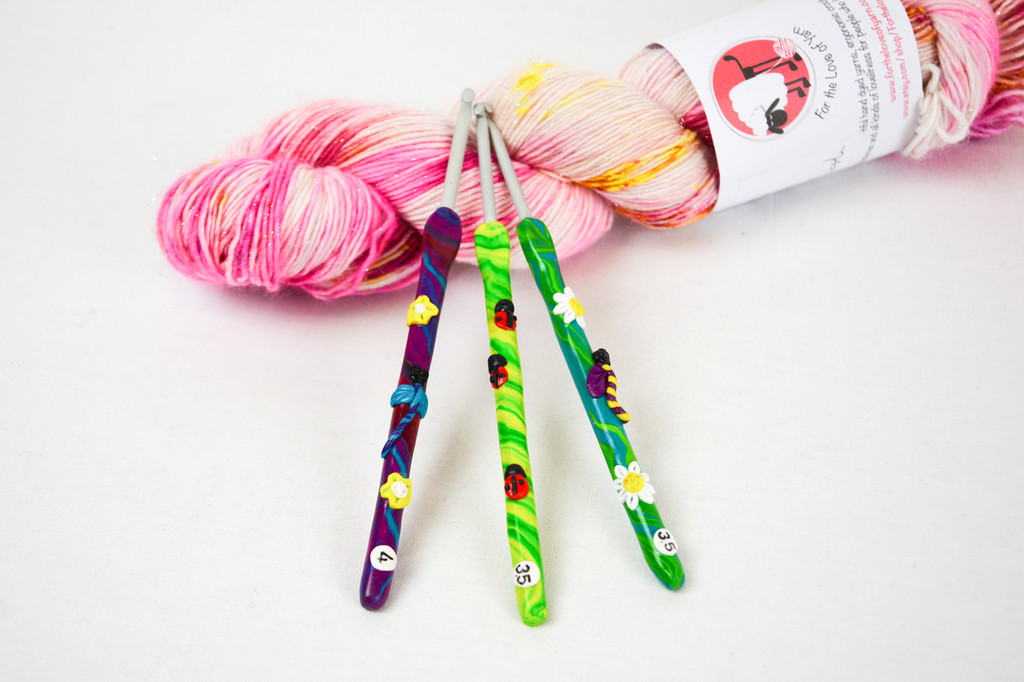 Mini beast polymer clay crochet hooks