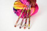 Rainbow Glitter Polymer Clay Crochet Hooks
