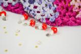 Lampwork glass toadstool stitch markers