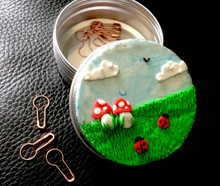 Toadstool Notion tin with free stitch markers