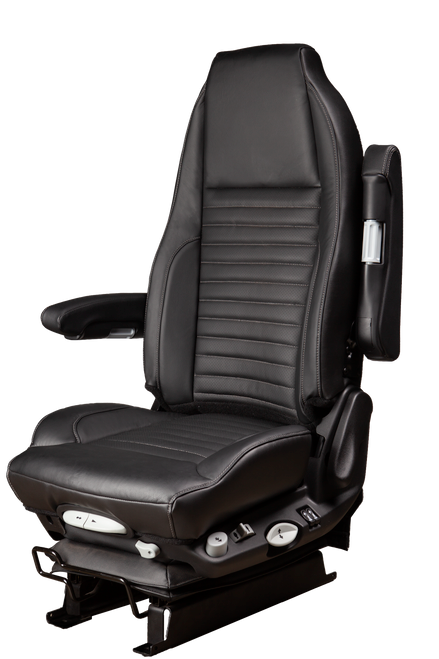 GraMag Genuine Black Leather with Grey Stitching Aftermarket Seat