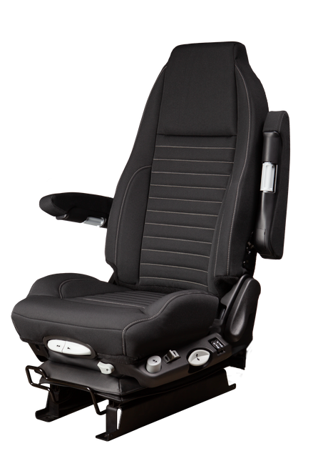 GraMag Black Tough Cloth with Grey Stitching Aftermarket Seat