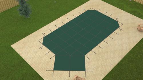 GLI ProMesh Grecian 16'6 x 35'6 (4 x 6 Left Step) Green Inground Safety Cover (20-1635GR-LHS46-PRM-GRN)