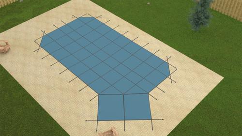GLI ProMesh Grecian 16'6 x 35'6 (4 x 6 Right Step) Blue Inground Safety Cover (20-1635GR-RHS46-PRM-BLU)