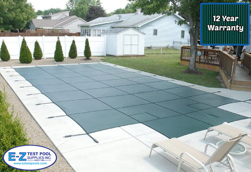 GLI Secur-A-Pool Mesh 18' X 36' 4X8 Ctr. (Rect.) Green Inground Safety Cover (20-1836RE-CES48-SAP-GRN)