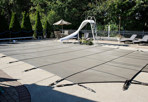 GLI Secure-A-Pool Grecian 20'9 x 39'9 (4' x 8' Left Step) Tan Inground Safety Cover (20-2039GR-LHS48-SAP-TAN)