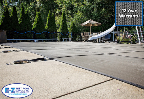 Secur-A-Pool Mesh 18' X 36' 4X8 Rt. (Rect.) Gray Inground Safety Cover (20-1836RE-RHSF48-SAP-GRY)
