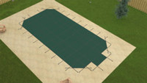 Merlin Safety Solid W/Mesh Panel Grecian 16'6 X 32'6 4X8 Ctr. Green Safety Pool Cover (50W-X-GR)