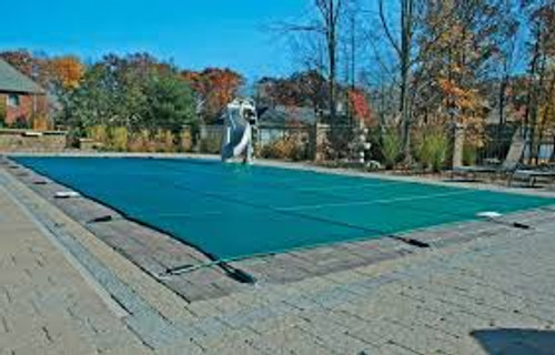 Meyco PermaGuard Solid W/Mesh Panel 16' X 32' (Rect.) Green Safety Pool Cover (MEYS1632)
