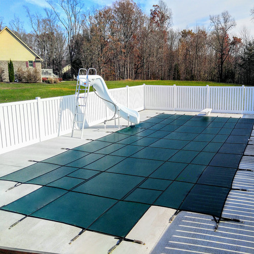 Meyco PermaGuard Solid W/Mesh Panel 18' X 36' 4x8 Ctr. (Rect.) Green Safety Pool Cover (MEYS140)