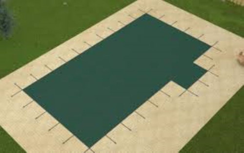 Meyco PermaGuard Solid W/Mesh Panel 16' X 32' 4x8 Rt. 1' or 2' Off (Rect.) Green Safety Pool Cover (MEYS1RH16)