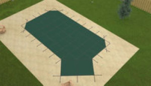Meyco PermaGuard Solid W/Mesh Panel Grecian 16'6 X 35'6 4x6 Rt. Green Safety Pool Cover (MEYSG1635RHC)