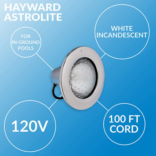 Hayward AstroLite 120V, 500W, 100' Cord with Stainless Steel Face Ring Pool Light (W3SP0583SL100)