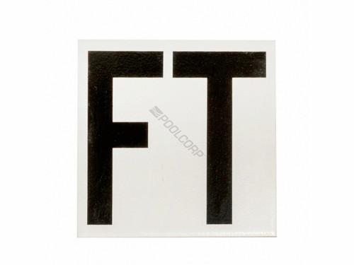 "Ceramic Swimming Pool Waterline Depth Marker FT Smooth Finish, 5"" Font, 5DMFFT (AUU-37-9801)"