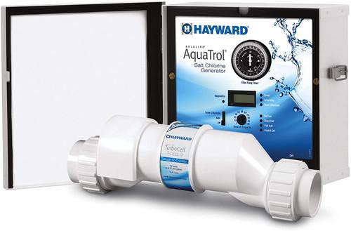 Hayward Aqua-Trol Above-Ground Pool Salt Chlorine Generator, Hose/Pipe, 18K Gallons, W3AQ-TROL-HP (GLD-45-1012)