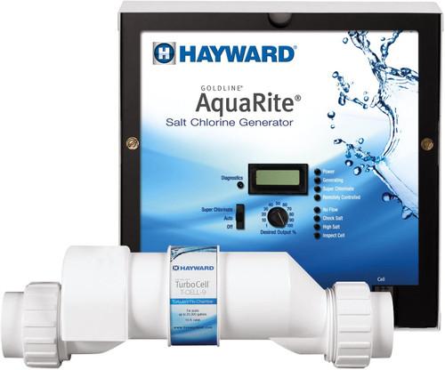 Hayward AquaRite Salt Generator Complete 25,000 Gallons, Power Center and Salt Cell Kit, W3AQR9 (GLD-45-1004)