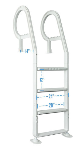 Heavy Duty Resin In-Pool Above Ground Swimming Pool Ladder - White PG-3001 (LIO-75-3001)