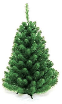 """Norway Spruce 91cm Perfect for a small apartment or office, the 2ft and 3ft versions are made with a plastic stand, ideal for a coffee table, reception desk or mantelpiece.  Soft 2½"""" round tips. Available in 4 sizes. Branches reach off the floor.  Colour: Dark Green"""