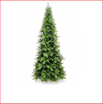 """Pencil Pine Christmas Tree 2.28m Hinged The inspiration for the Pencil Pine Downswept Christmas tree originated right here in Australia. The Athrotaxis cupressoides is a species endemic to Tasmania and its common name is Pencil Pine, although it's not a member of the Pine family but rather an evergreen coniferous tree. Growing in high altitudes the narrow conical shape and their downward-drooping limbs, help them shed snow.  With this in mind the Pencil Pine Downswept Christmas tree was developed as the perfect Christmas tree for smaller spaces. Easy to decorate with branches sweeping close to the floor the larger sizes are well suited to stairwells and entrances. This slim line design features 2½"""" wide tips and down swept branches making it particularly easy to decorate."""