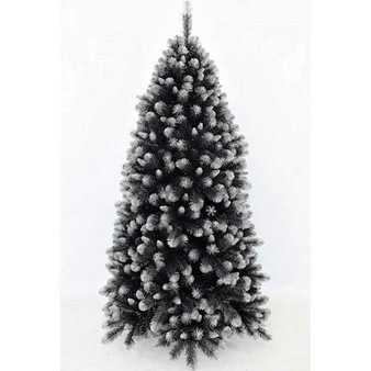"""Grand Empress Spruce 1.83m Black  Want your tree to really stand out?  This tree is made with a mixture of 2 styles of tips  (2½"""" mature black tips and 1½"""" new growth silver tips). For that real snowy mountain feel, we have created a lush tree with frosted silver tips.   Branches reach close to the floor.     Colour: Black with silver frosted tips"""