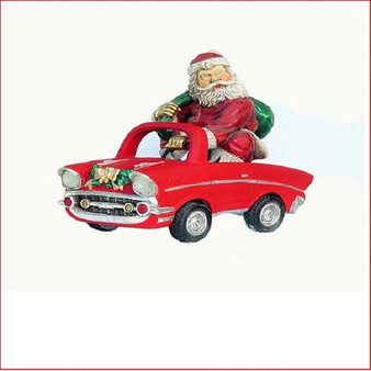 Poly-resin Santa on Car, great table decoration or simply an addition to your display, great present for kids, one that they will remember