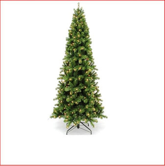 """Pencil Pine Christmas Tree 1.83m Pre-Lit-432 LED Lights The inspiration for the Pencil Pine Downswept Christmas tree originated right here in Australia. The Athrotaxis cupressoides is a species endemic to Tasmania and its common name is Pencil Pine, although it's not a member of the Pine family but rather an evergreen coniferous tree. Growing in high altitudes the narrow conical shape and their downward-drooping limbs, help them shed snow.  With this in mind the Pencil Pine Downswept Christmas tree was developed as the perfect Christmas tree for smaller spaces. Easy to decorate with branches sweeping close to the floor the larger sizes are well suited to stairwells and entrances. This slim line design features 2½"""" wide tips and down swept branches making it particularly easy to decorate."""
