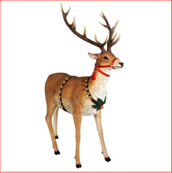 The Polyresin Reindeer for Sleigh Jumbo is a beautiful reindeer and a must in your Christmas display. Large Christmas decor at its best there is a matching Sitting Santa and Rearing Reindeer for the Sleigh Jumbo which are used in shopping centres and at many events where Santa will arrive and be involved in a photo shoot. The Reindeer for Jumbo Sleigh looks so impressive as it truly looks like the reindeer is about to take flight to the sky. Large Christmas décor that allows you to turn you imagination into reality in a beautifully elegant way. Santa loves the Reindeer for Jumbo Sleigh as kids adore naming the reindeers one by one. A reindeer would be so lonely by itself in front of the sleigh so we recommend you buy at least 2 of them to pull the sleigh.