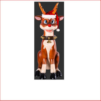 The design Poly-resin Funny Reindeer Sitting comes with a Santa's hat as well. A great compliment to any Christmas scene it will definitely add great Christmas cheer any event. Very popular for shopping centres to add a playful twist to their Christmas displays and our range of large Toy Soldiers or Nutcrackers would compliment this item beautifully.
