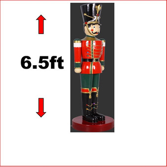 The Polyresin Toy Soldier with 6.5ft statue with extensitive detail and striking looks is popular with young and old. He looks great in your Christmas display with Christmas Trees, Santa Throne, Candy Cane or you may just need two of them to keep guard of your Christmas display.