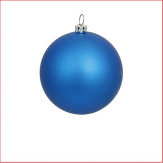 100mm Christmas Bauble - Blue - Wired Matte