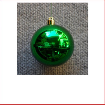 70mm Christmas Bauble - Green - Wired Glossy