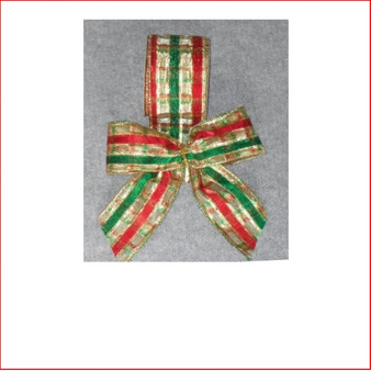 Check Pattern in Gold-Green and Red-65mm Single Bow Bow looks great with all the traditional colours, red, gold and green. Check Pattern in Gold-Green and Red-65mm Single Bow is pre made by our designer team to suit all garlands, wreaths, christmas trees and wall sequoia's. Check Pattern in Gold-Green and Red-65mm Single Bow is a unique ribbon that will enhance the style and theme of your christmas display the 3 traditional colours of red, green and gold.
