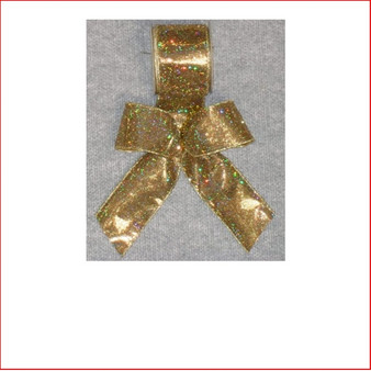Christmas Ribbon Gold Lame with Sparkles-65mm, Single bows can be pre made by our christmas designers, available and sold in quantities of 10