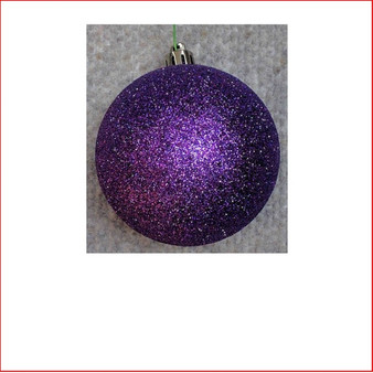 70mm Glittered Christmas Bauble -Purple-Wired