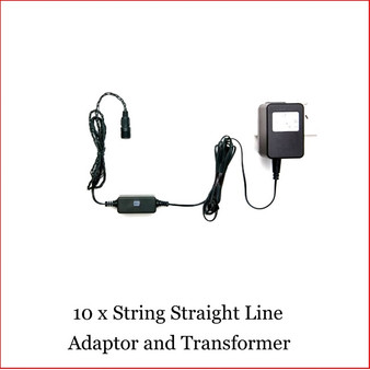 10 x String Straight line Tree Adaptor and Transformer, Is specially designed from many years experience of Lighting up your Christmas Tree. Very is to just plug up to 10 sets of 100 LED Connectable lights, either Warm White, Super White or Multi colour. Lighting up a large area for a function, event or christmas lighting competition is so easy with the 10 x String Straight Line Adaptor and Transformer as you can connect upto 100 metres from one power source. Led connectable Lights sold separately