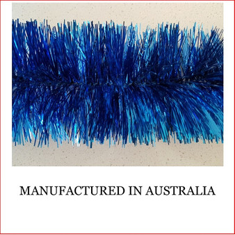 Australian manufactured 4 Ply Tinsel Garland - Blue (100mm x 5.5m). Very thick and lush commercial grade tinsel made right in Australia.  We cannot emphasize how beautiful this tinsel looks. Currently in very high demand for corporate clients from shopping centres, RSL's, car yards and various businesses from fruit shops to offices and building foyers.  Made in Australia from quality raw materials that strengthen the garland tinsel which ensures a longer lasting product. Colours also Available: Black, Cerise, Electric Blue, Gold, Green, Lime, Orange, Purple, Red, Royal Blue, Silver, White