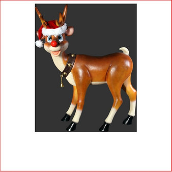 STANDING FUNNY REINDEER The design Poly-resin Funny Reindeer Standing comes with a Santa's hat as well. A great compliment to any Christmas scene it will definitely add great Christmas cheer any event. Very popular for shopping centres to add a playful twist to their Christmas displays. Large Christmas decor at its best, our range of large Toy Soldiers or Nutcrackers would compliment this item beautifully. The Funny Reindeer Standing is well loved by kids and adults alike as they adore his cute face and Christmas cheer.
