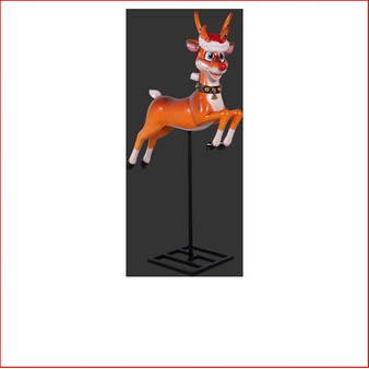 FUNNY REINDEER ON BASE The design Poly-resin Funny Reindeer on Base comes with a santa's hat as well. A great compliment to any Christmas scene it will definitely add great Christmas cheer any event. Very popular for shopping centres to add a playful twist to their Christmas displays. Large Christmas decor at its best, our range of large Toy Soldiers or Nutcrackers would compliment this item beautifully. The Funny Reindeer on Base is well loved by kids and adults alike as they adore his cute face and Christmas cheer.