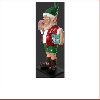 The design Polyresin Christmas Sunny Elf with two gifts 2ft is playful, fun, adorable and beautifully crafted. Whether it be in the garden or even the kids bedroom this little Aussie elf will bring joy to your Christmas.  Also available is the matching Sunny Elf with two gifts 2ft and Elf with two gifts 3ft. These beautifully designed pieces work well as a team or just by themselves to add magic and fun to Christmas.