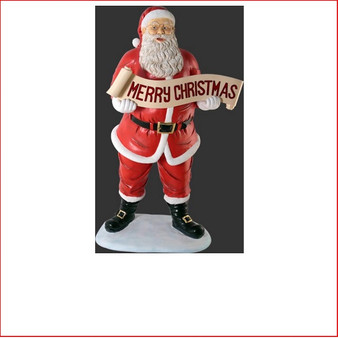 Poly-resin Santa with Merry Christmas Banner 5ft is a beautiful centrepiece in your Christmas display. Traditional and yet stylish this is large Christmas decor at its best with plenty of fantastic detail giving Santa true expression.