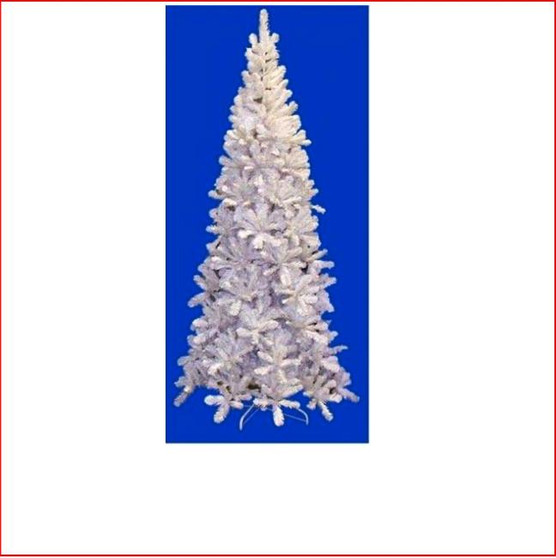 """Pencil Pine Christmas Tree 2.13m White The inspiration for the Pencil Pine Downswept Christmas tree originated right here in Australia. The Athrotaxis cupressoides is a species endemic to Tasmania and its common name is Pencil Pine, although it's not a member of the Pine family but rather an evergreen coniferous tree. Growing in high altitudes the narrow conical shape and their downward-drooping limbs, help them shed snow. With this in mind the Pencil Pine Downswept Christmas tree was developed as the perfect Christmas tree for smaller spaces. Easy to decorate with branches sweeping close to the floor the larger sizes are well suited to stairwells and entrances. This slim line design features 2½"""" wide tips and down swept branches making it particularly easy to decorate."""