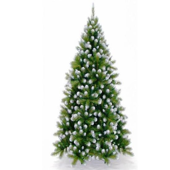 """Grand Empress Spruce 2.28m Want your tree to really stand out?  This tree is made with a mixture of 2 styles of tips and 2 palettes of green (2½"""" mature dark green tips and 1½"""" new growth green tips). For that real snowy mountain feel, we have created a lush tree with frosted white tips.   Branches reach close to the floor."""