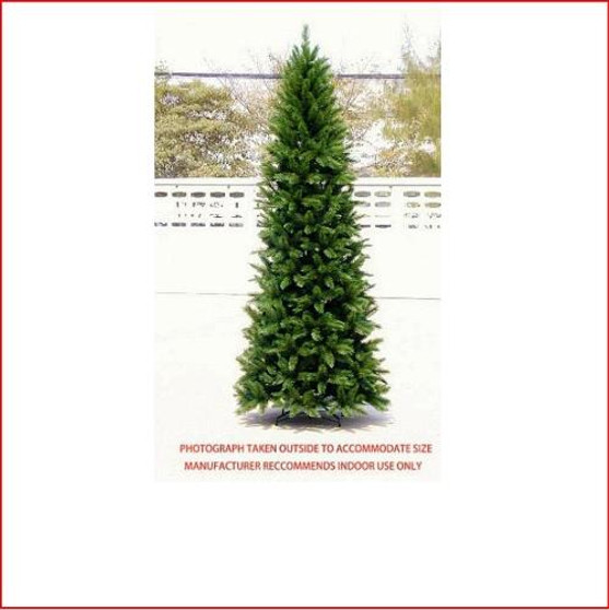 """Pencil Vienna Spruce Christmas Tree 3.66m This is a slimmer version of our most popular tree.   Featuring a pencil shape with 3¼"""" tufted tips, the effect is a soft natural looking tree.   Perfect for those who like our most popular Christmas tree, the Vienna Spruce, but can't accommodate its size. Decorate with ease.    Branches reach close to the floor.    Colour: Hunter Green (slightly lighter than dark green)"""