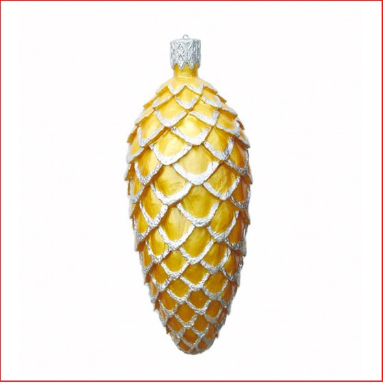 The Polyresin Gold Pine Cone with Silver trim Hanging Ornament, is great for a hanging decoration from the ceiling in shopping centres, foyer or your christmas display, large product with extensive detail