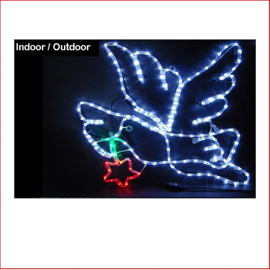 This Rope Light Flying Dove Christmas display will look fantastic outside your house and add instant Christmas cheer for the most impressive of neighbourhood displays. It will turn your house into a sight that will astonish and excite the whole neighbourhood. Easy to set up with a sturdy frame and meeting Australian safety standards, this display is fabulous for both indoor and outdoor use. The LED Flying Dove, looks great very bright and can display a few of the flying doves to show them flying away in the distance