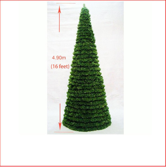 Modular Cone Tree 4.9m Indoor-Outdoor  The Cone tree is designed in 2ft (61cm) sections (limited to 5 sections). Each section has screw on connections (colour coded) to join to the next section above. When disassembled the sections will store within each other thus reducing the storage area required.   Tree can be used for indoor or outdoor displays.  Lights and decorations can be secured to the frame.  The Minimum height 1.80m. Maximum height of 4.9m  Tree reaches to the ground.  Colour: Dark Green
