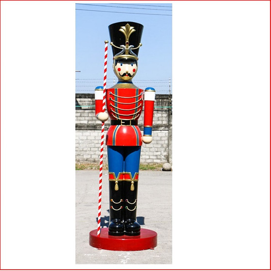The Polyresin Toy Soldier with Baton 16ft, front view outside