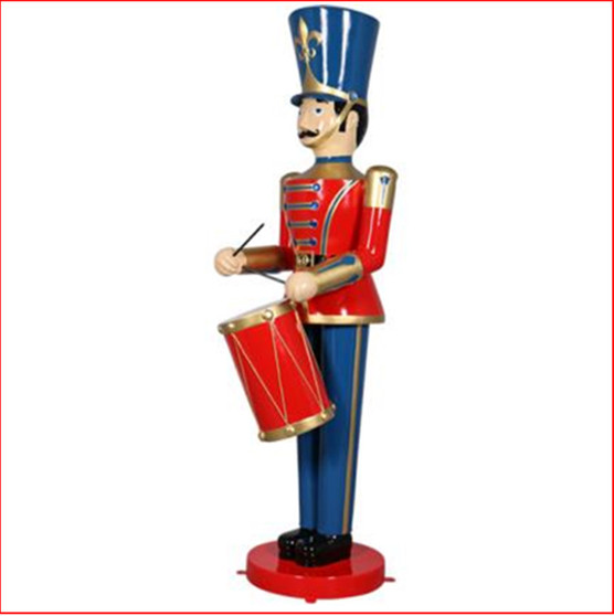 The Polyresin Toy Soldier with Drum 9ft will cast you back to your childhood of carefree days and vivid imagination. Such a cute piece representing Christmas parades across the globe. You will love this for Christmas and  the matching 9ft Toy Soldier with Trumpet. The perfect addition to enhance your Christmas display, Toy soldiers and Nutcrackers are collectibles where you can never have enough.