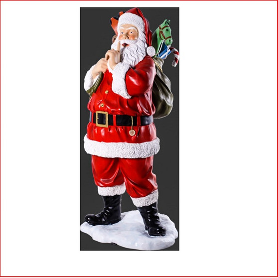 Poly-resin Santa with Toys 6ft is large Christmas decor at its best There is plenty of fantastic detail on the sack where the presents are showing. Santa Claus is coming to town with his Christmas sack full of presents creating a must have piece for your Christmas display.